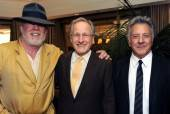 "Actor Nick Nolte, executive producer and director Michael Mann and actor Dustin Hoffman pose at the premiere of HBO's ""Luck."""