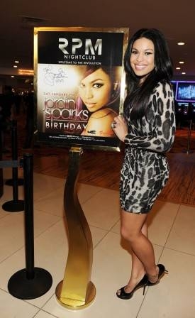 Jordan Sparks arrives for her birthday party at RPM Nightclub at the Tropicana.