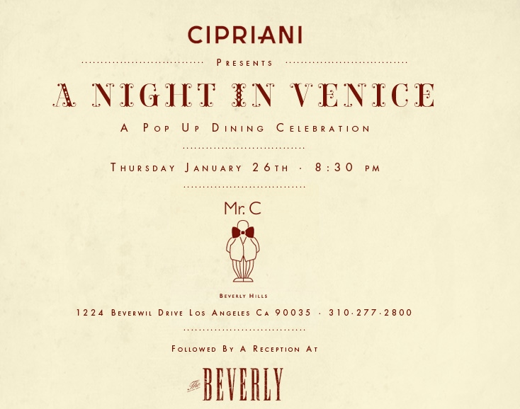 "Cipriani To Host ""A Night In Venice"" Event"