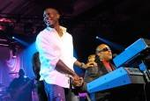 Actor/singer Tyrese Gibson, left, joins recording artist Stevie Wonder as he performs at The Chelsea at The Cosmopolitan of Las Vegas on New Year's Eve.