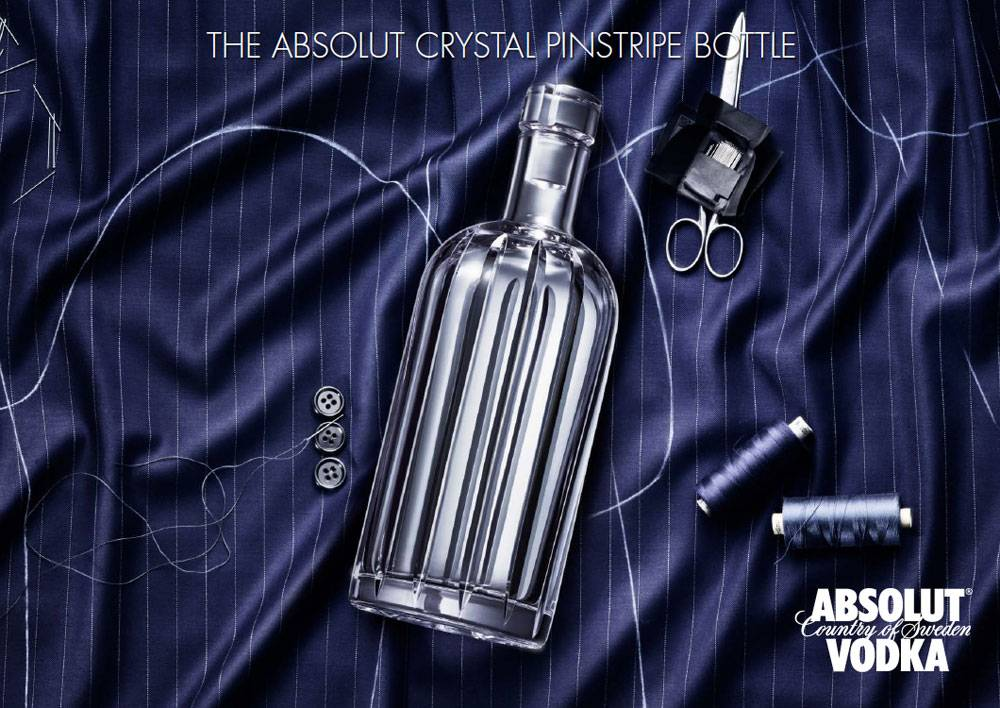 Absolut Vodka Presents Crystal Pinstripe Bottle