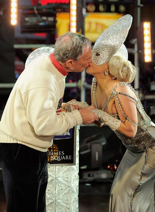 Lady Gaga Rings in 2012 in Times Square With Mayor Bloomberg