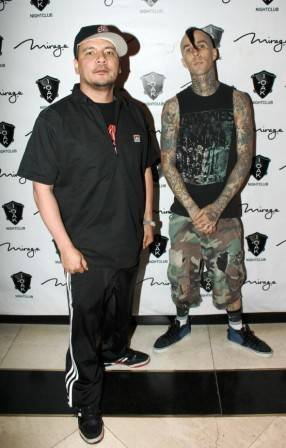 Mix-Master Mike and Travis Barker on the red carpet at 1 OAK.