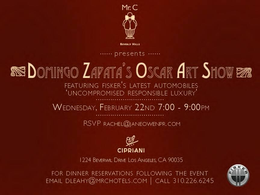 Domingo Zapata to Unveil Oscar Art Show at Mr. C Beverly Hills