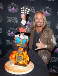 Vince Neil with his birthday cake.