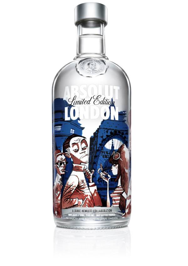 Gorillaz Artist Jamie Hewlett Designs ABSOLUT London Bottle