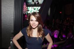 Actress Aimee Teegarden enjoys an evening on the Las Vegas Strip at Chateau Nightclub & Gardens inside Paris Las Vegas.