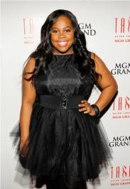 Amber Riley on the red carpet at Tabu.