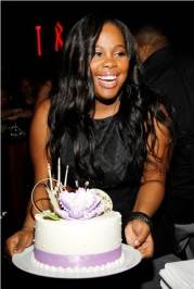 Amber Riley with her cake at Tabu.