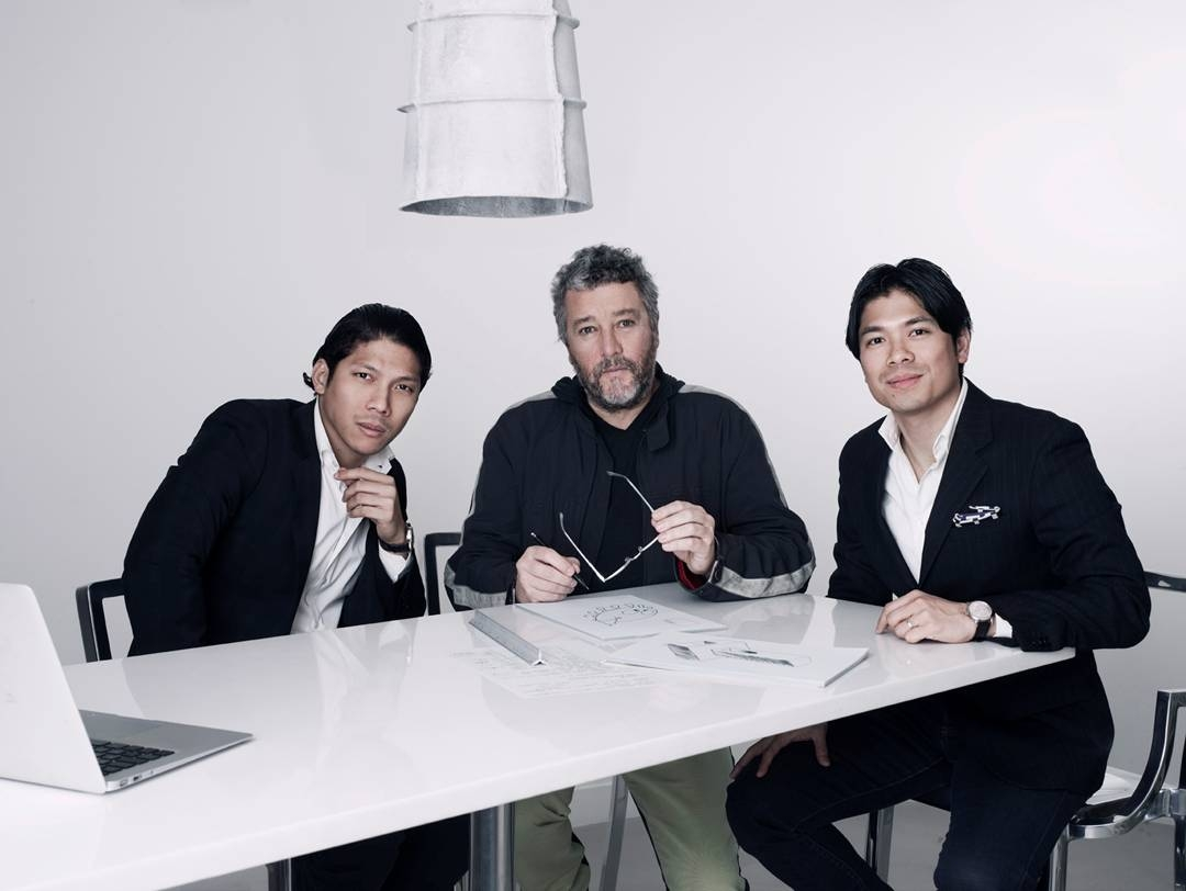 Century Properties Group, Inc. announces interior design partnership with yoo inspired by Starck for new Manila project. (From Left to Right) Century Properties official Robbie Antonio, yoo inspired by Starck founder Philippe Starck, and Century Properties official Marco Antonio at a meeting in Paris for Century's new development.