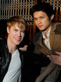 Actors Chord Overstreet (L) and Harry Shum Jr. celebrate Overstreet's birthday at the Lavo Nightclub.