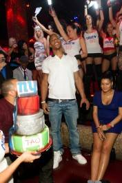 Victor Cruz from the New York Giants celebrates his Super Bowl victory at Tao.