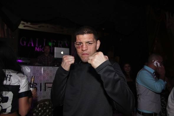 Nick Diaz puts fists up at Gallery Nightclub in Las Vegas