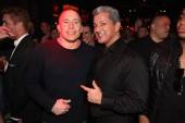 Georges St-Pierre and Bruce Buffer at Tryst Nightclub.