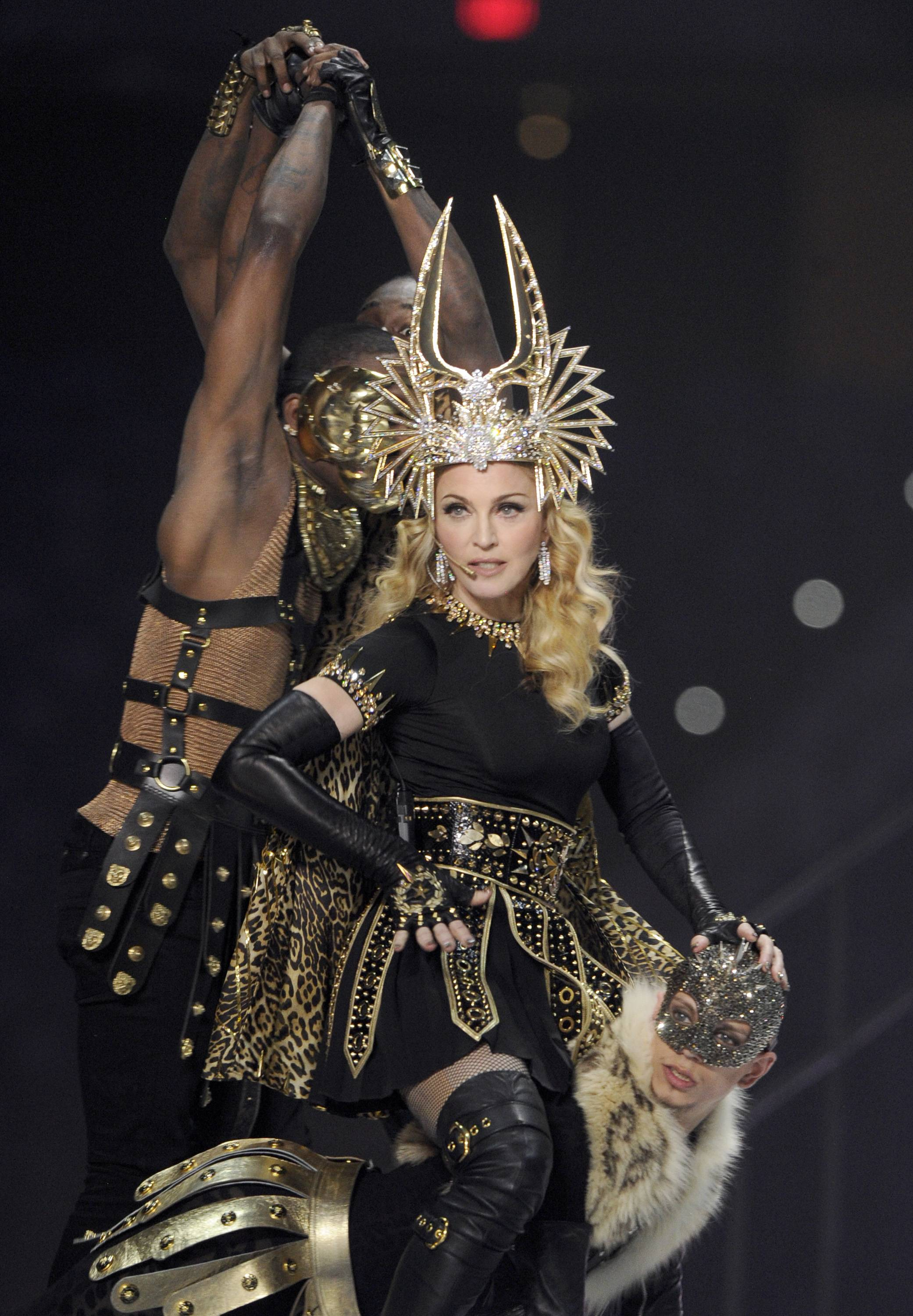 Madonna Shines in Bulgari During the Super Bowl Halftime Show