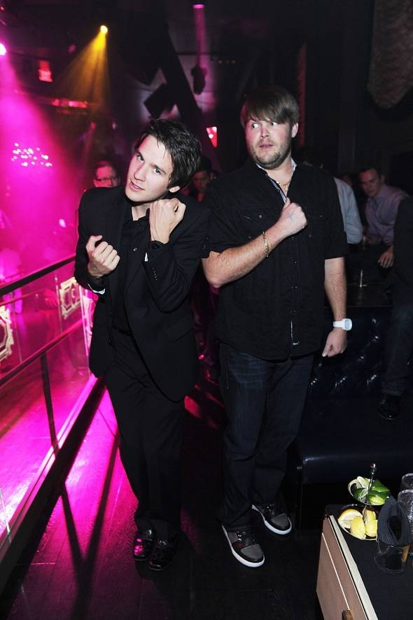 Devon Werkheiser plays around with pal Jareb Dauplaise during his 21st birthday celebration at Chateau Nightclub & Gardens.