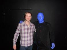 Jake Pavelka back stage with the Blue Man Group.