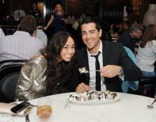 Jesse Metcalfe and fiancée Cara Santana indulge in a Cookie Jar ice cream sundae at Sugar Factory American Brasserie at Paris Las Vegas.