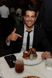 Jesse Metcalfe enjoys chicken and waffles at Sugar Factory American Brasserie at Paris Las Vegas.