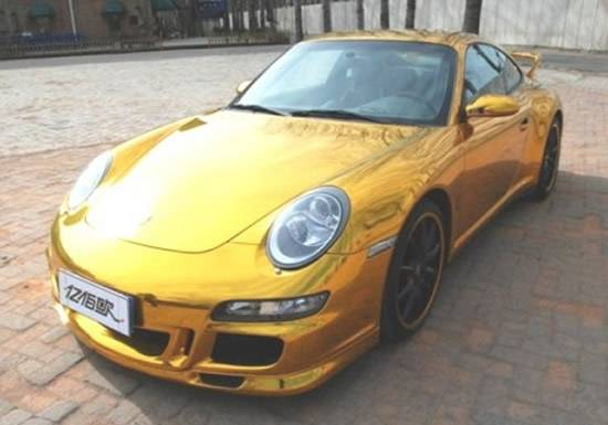 Gold Wrapped Porsche 911 Carrera 4S in China