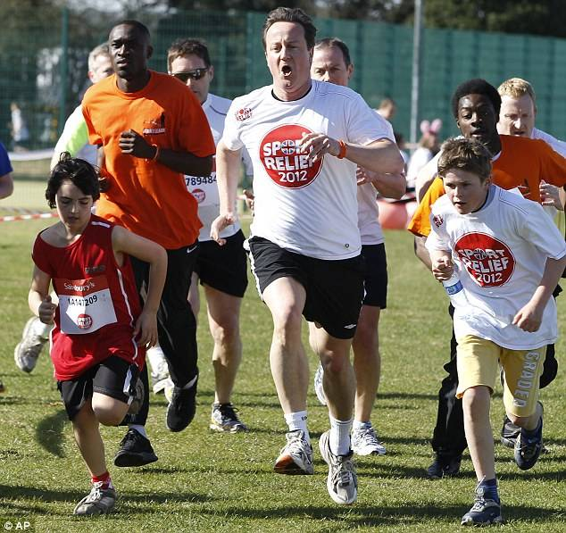 Prime Minister David Cameron Takes Part in Sport Relief Charity Run