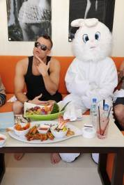 Mark Salling dines with the Easter bunny character at Liquid Pool Lounge.