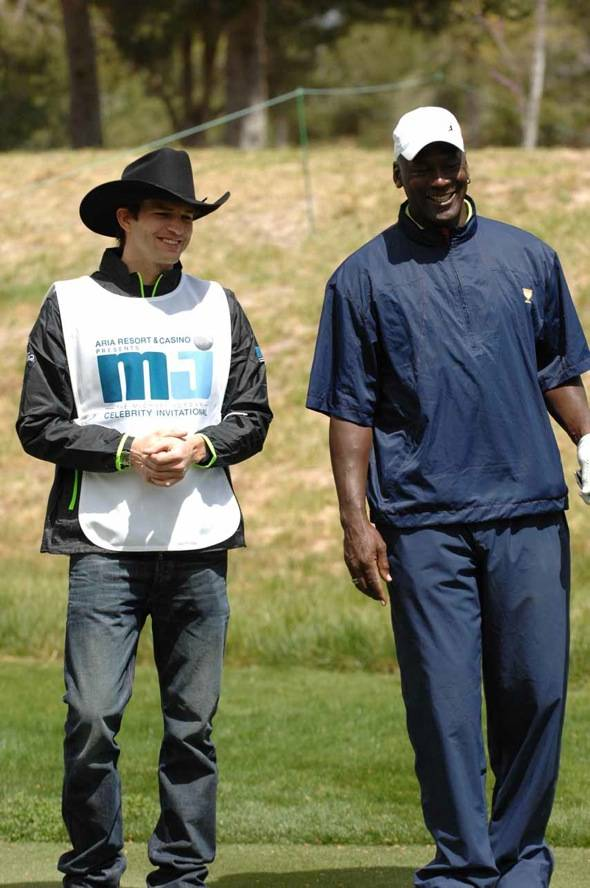 Ashton Kutcher and Michael Jordan laughing at MJCI, Las Vegas, 4.1.12