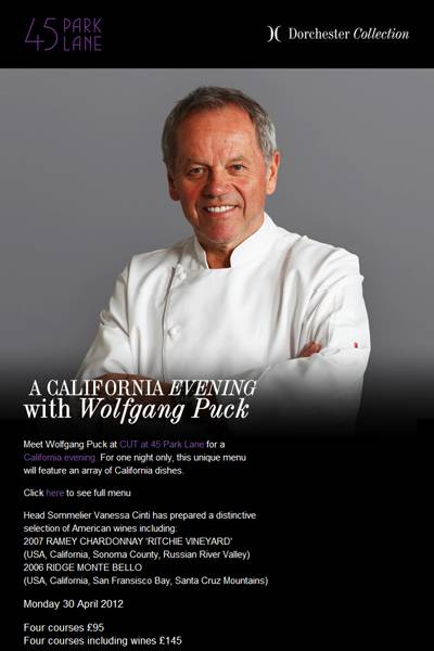 45 Park Lane Hotel to Host Event with Restaurant Owner Wolfgang Puck
