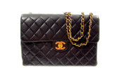 Chanel—Black Leather Quilted Jumbo Handbag--,100.00