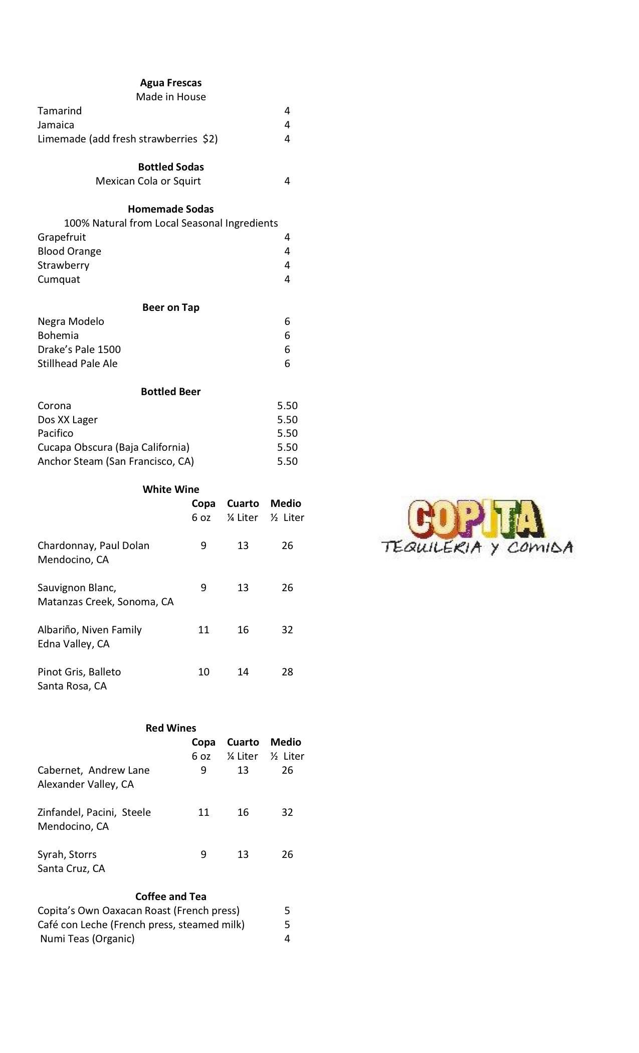 Copita's Beer Wine Non Alcoholic Bev