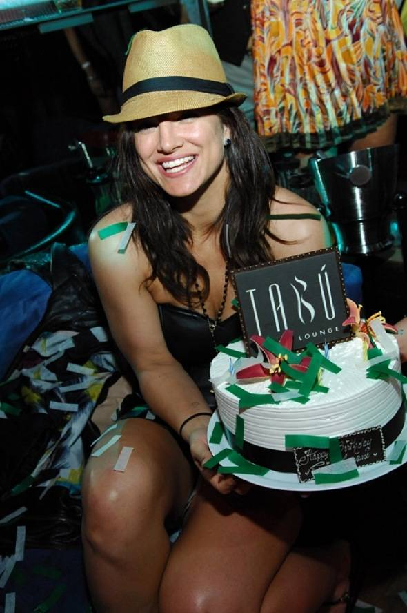 Gina Carano with Cake-Tabu Ultra Lounge 4.21.12