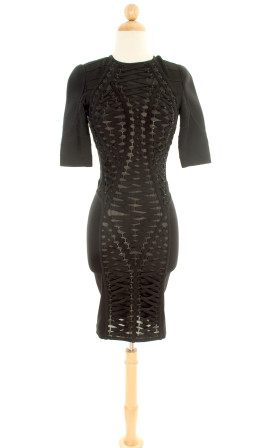Herve Leger—Black Lace-Up Panel Dress--5.00