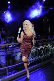 Holly Madison poses at her VIP table inside Chateau Nightclub & Gardens with her Easter candy.