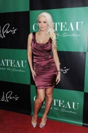 Holly Madison poses in Dolce & Gabbana and Christian Louboutin heels on the red carpet.