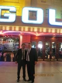 Mark Ruffalo and Golden Gate co-owner Derek Stevens on the Fremont Street Experience.