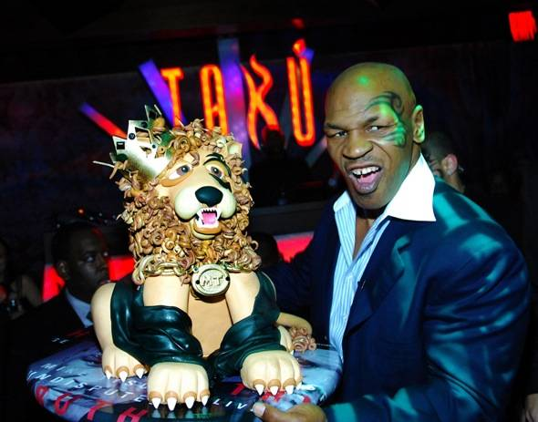 Mike Tyson Growling with Lion Cake