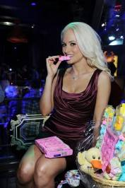 """Peepshow"" star Holly Madison surprised with her Easter basket full of Peeps at her VIP table inside Chateau Nightclub & Gardens."