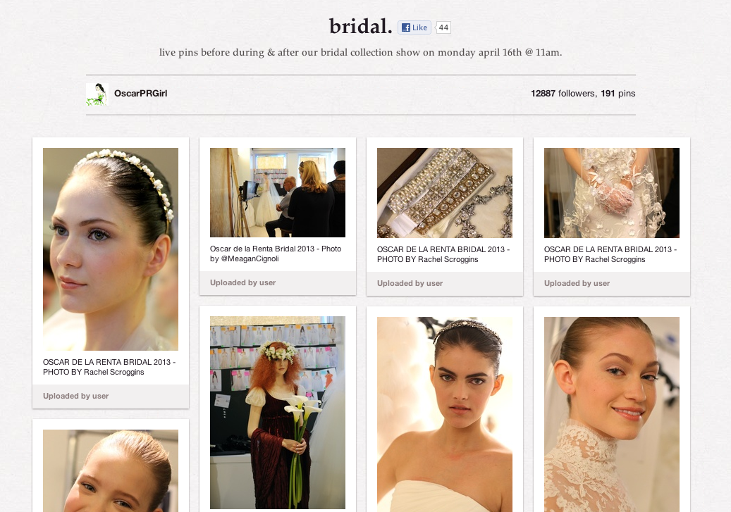 "Haute 100 New York Updates: Oscar de la Renta to ""Live-Pin"" via Pinterest at Today's Bridal Runway Show"