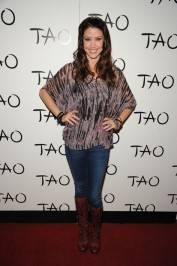 Shannon Elizabeth poses on the red carpet at Tao.