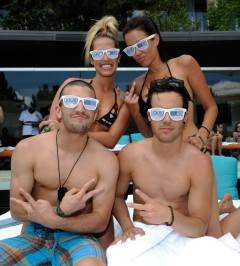 Dancer Mark Ballas, Tiffany Dunn, Carlene K and Travis Garland appear at the Liquid Pool Lounge.