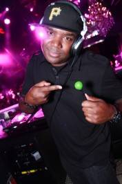 DJ J Nice in the DJ booth at Chateau Nightclub & Gardens at Paris Las Vegas.