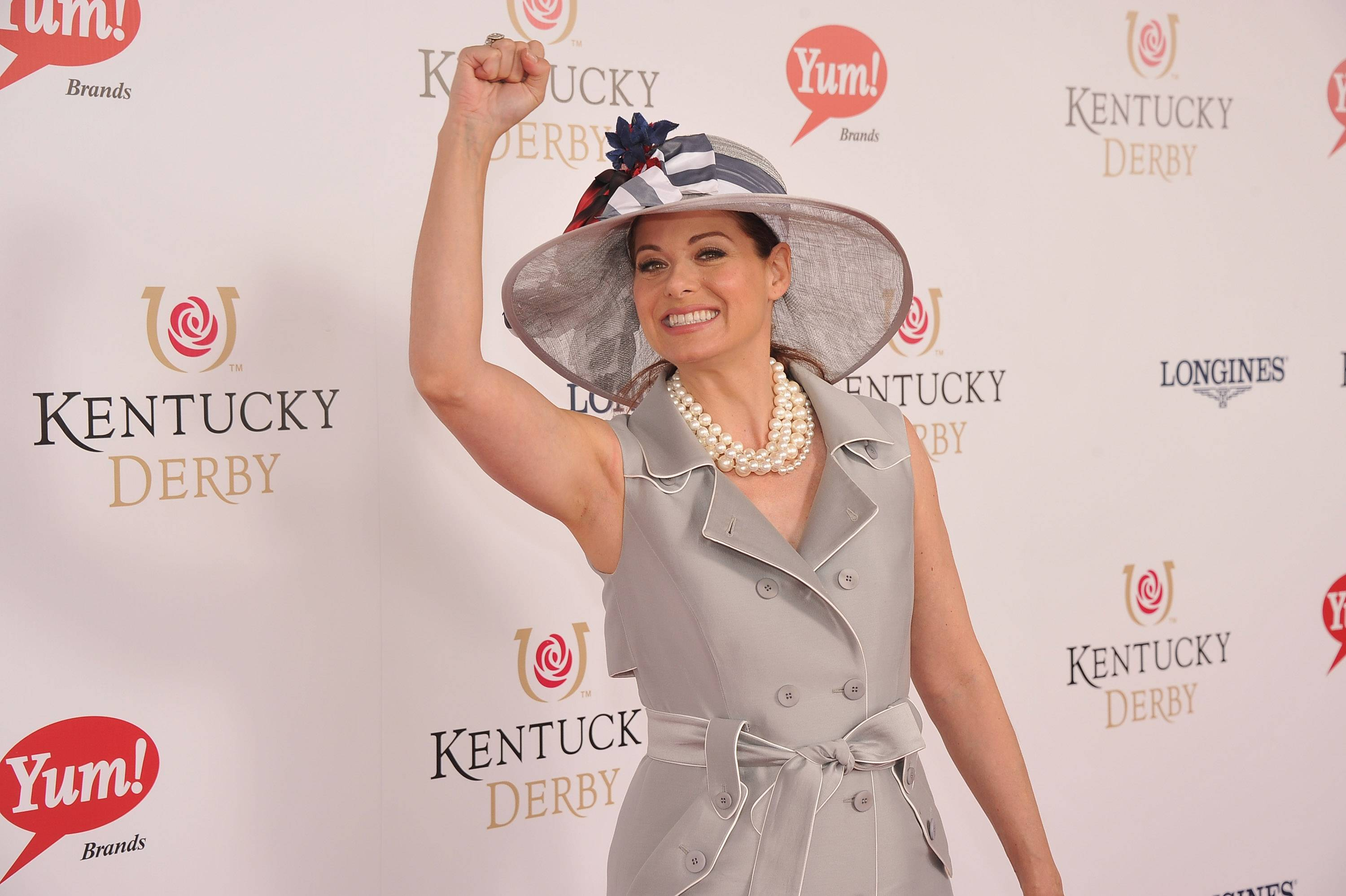 Debra Messing wears GREY GOOSE Cherry Noir Vodka Inspired Hat at the 2012 Kentucky Derby2