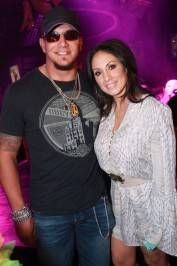 Frank Mir poses with his wife at Gallery Nightclub.