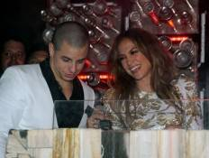 Jennifer Lopez and her boyfriend Casper Smart in the deejay booth at Hyde.