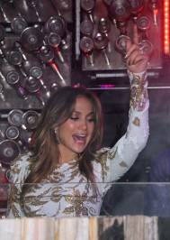 Jennifer Lopez in the deejay booth at Hyde.