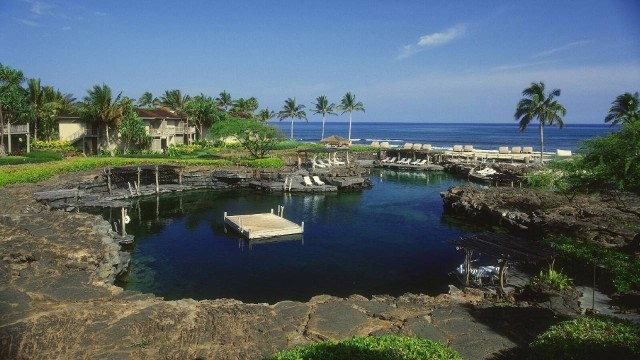 The King's Pond is the centerpiece of the Eco-Crescent at Four Seasons Hualalai.