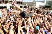 Sex Panther crowd surfs at Palms Pool & Bungalows.