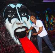 Mike Tyson and Gene Simmons at the mini golf 18th Hole