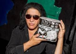 Gene Simmons with the new KISS Hello Kitty toilet paper.