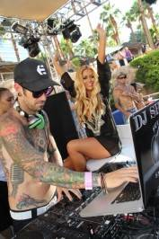 Aubrey O'Day and DJ Shift at Rehab.
